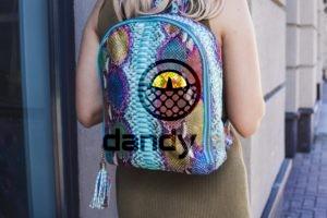 IMG 4606 300x200 Разноцветный рюкзак из кожи питона