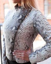 Women's jacket made of python skin