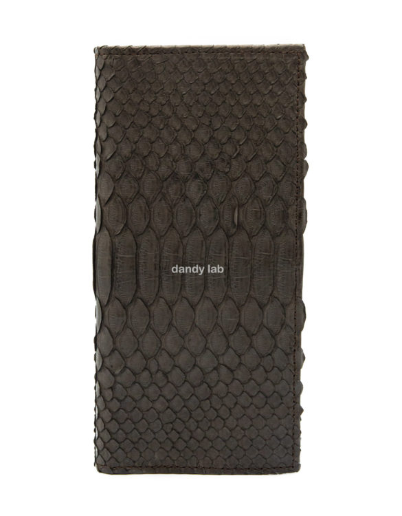 python leather wallet brown